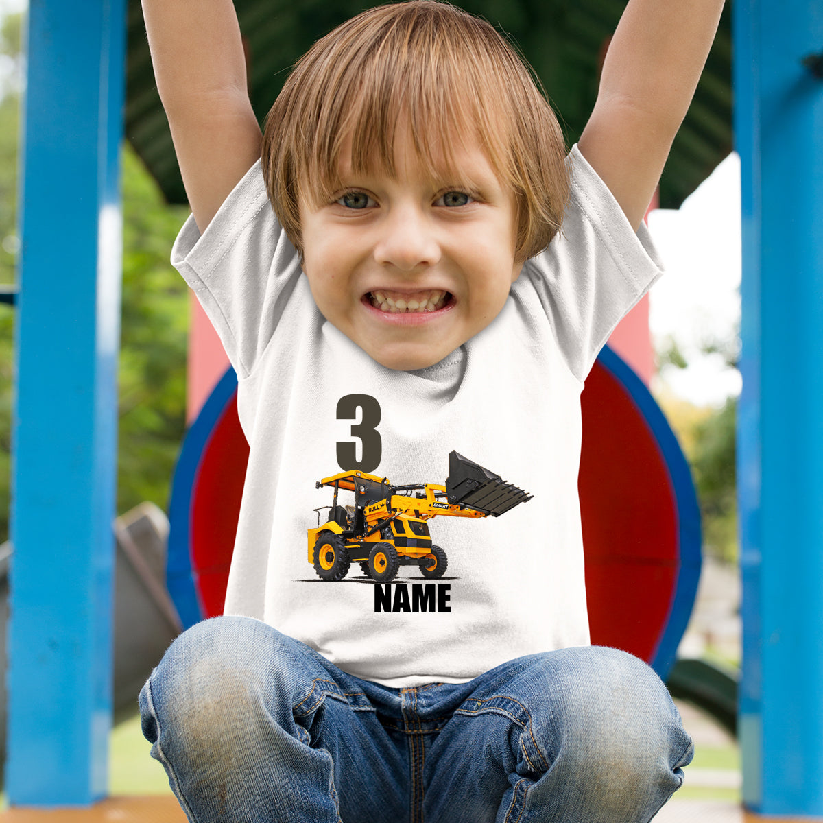 Sprinklecart Personalized Construction Vehicle 3rd Birthday Kids Poly-Cotton T Shirt (White)