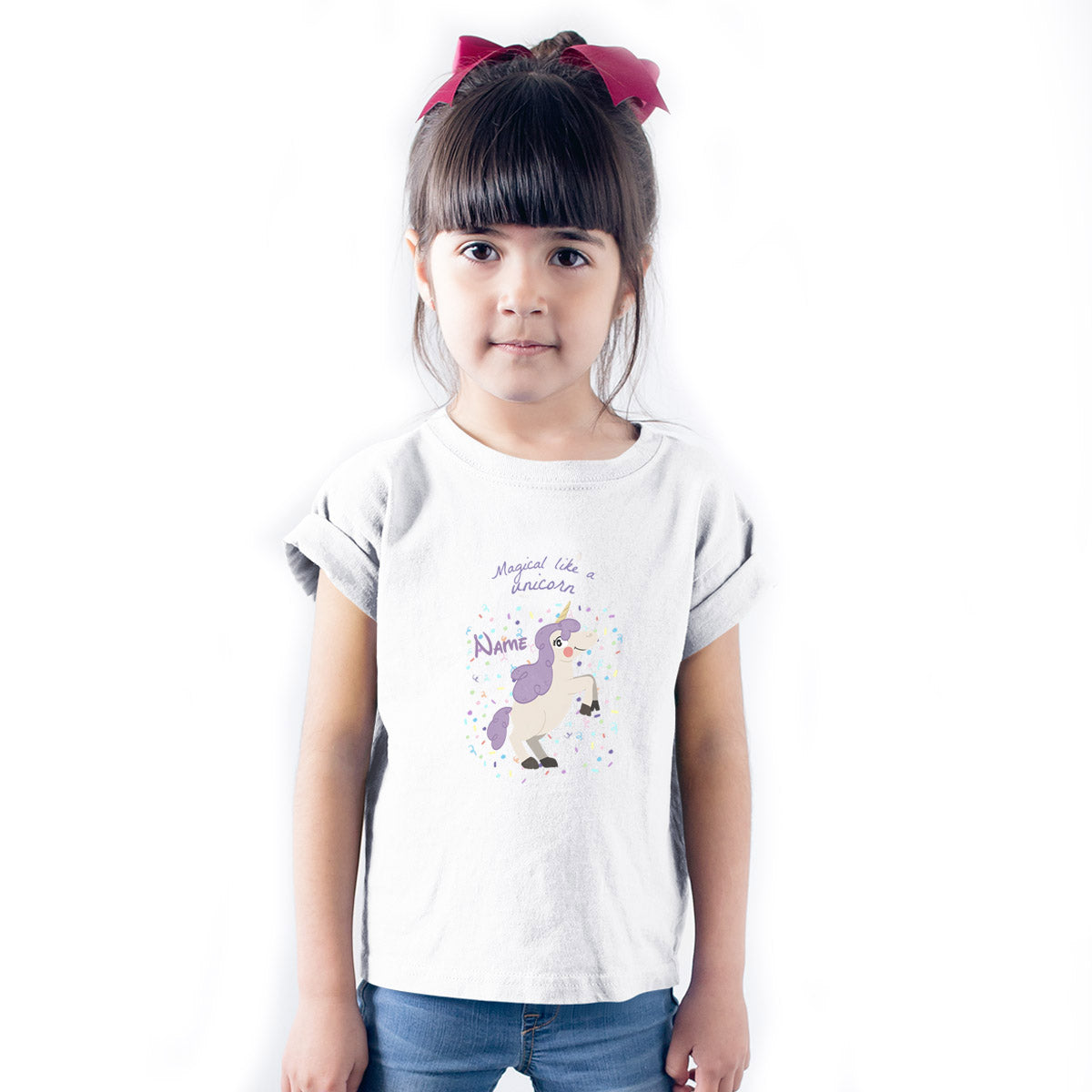 Sprinklecart Magical Like a Unicorn Printed Customized Poly-Cotton Kids T Shirt (White)