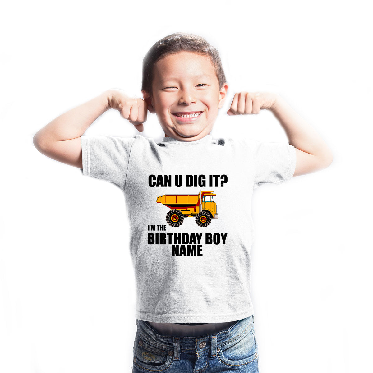 Sprinklecart Can You Dig It? I'm The Birthday Boy Printed Construction Vehicle Custom Kids Poly-Cotton T Shirt (White)