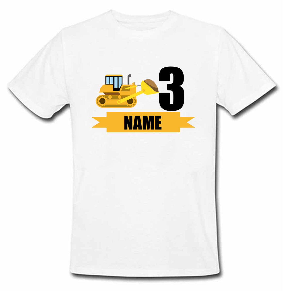 Sprinklecart Custom Name and Age Printed Construction Vehicle 3rd Birthday Poly-Cotton T Shirt for Kids (White)