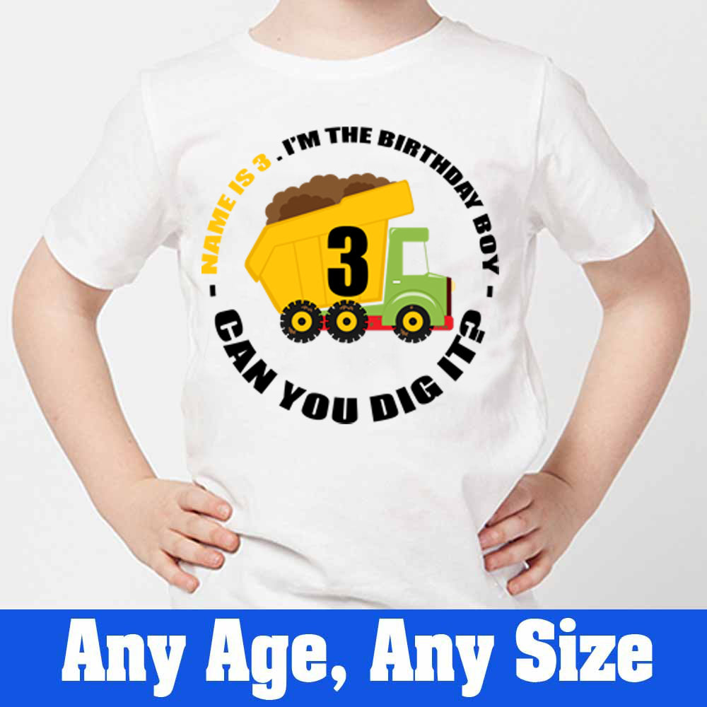 Sprinklecart Personalized Construction Vehicle 3rd Birthday Poly-Cotton T Shirt for Kids (White)