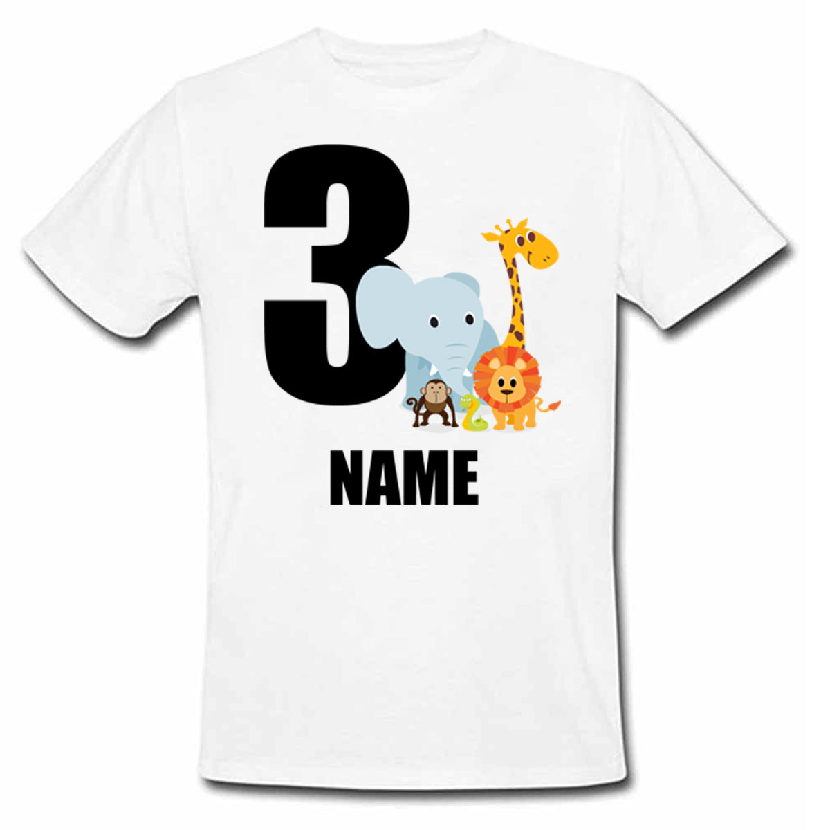 Sprinklecart Personalized Name and Age Printed Safari Animal 3rd Birthday Kids Poly-Cotton T Shirt (White)