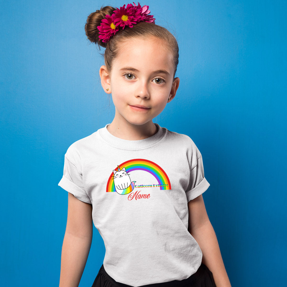 Sprinklecart Cute Caticorn Custom Name Printed Poly-Cotton T Shirt Wear for Kids (White)