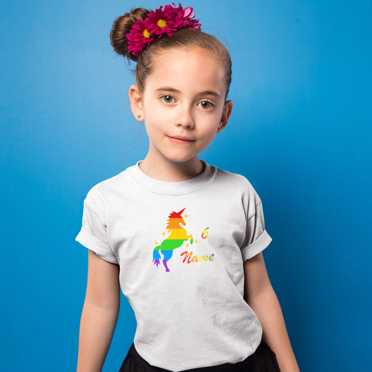 Sprinklecart Custom Name and Age Printed Unicorn 6th Birthday Poly-Cotton T Shirt for Kids (White)