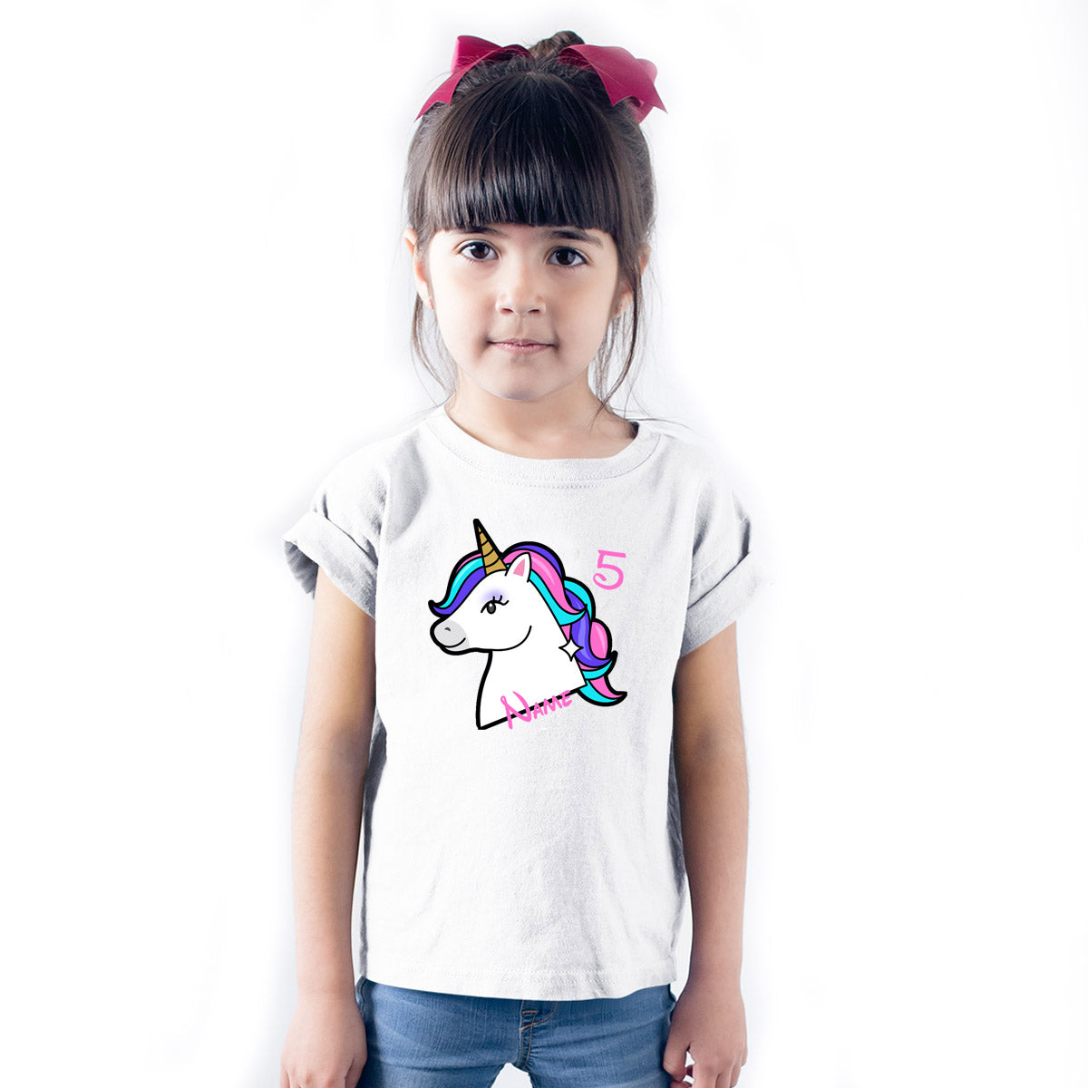 Sprinklecart Perfect Unicorn Customized Name Printed 5th Birthday Poly-Cotton T Shirt (White)
