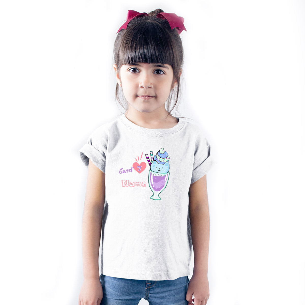 Sprinklecart Personalized Sweet 7 Poly-Cotton T Shirt Wear for Your Kid (White)