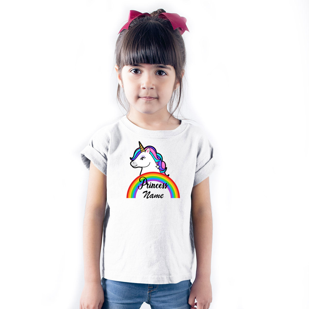 Sprinklecart Cute Rainbow Unicorn's Personalized Name Printed Kids Poly-Cotton T Shirt (White)