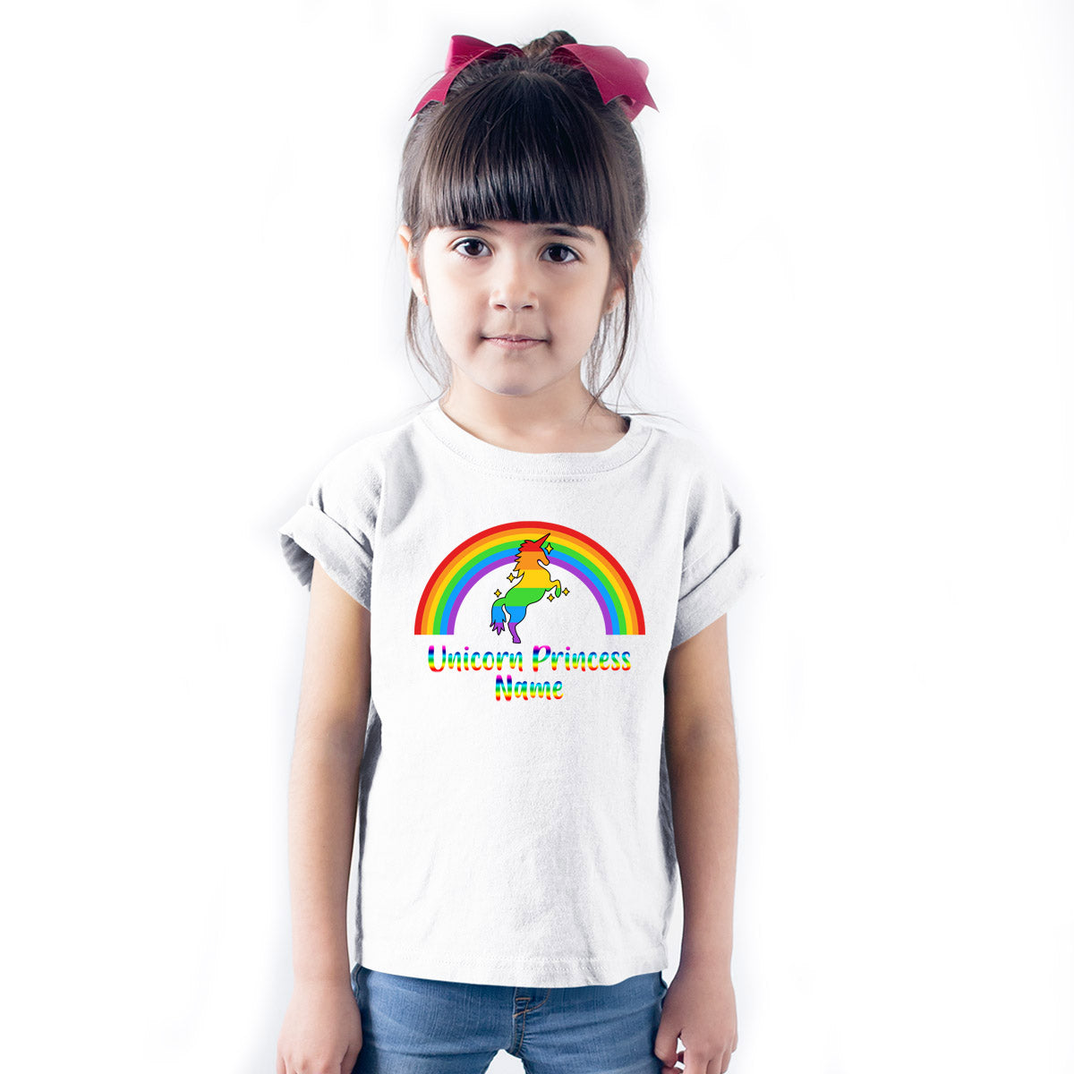 Sprinklecart Customized Name Printed Unicorn Princess Kids Poly-Cotton T Shirt Wear (White)