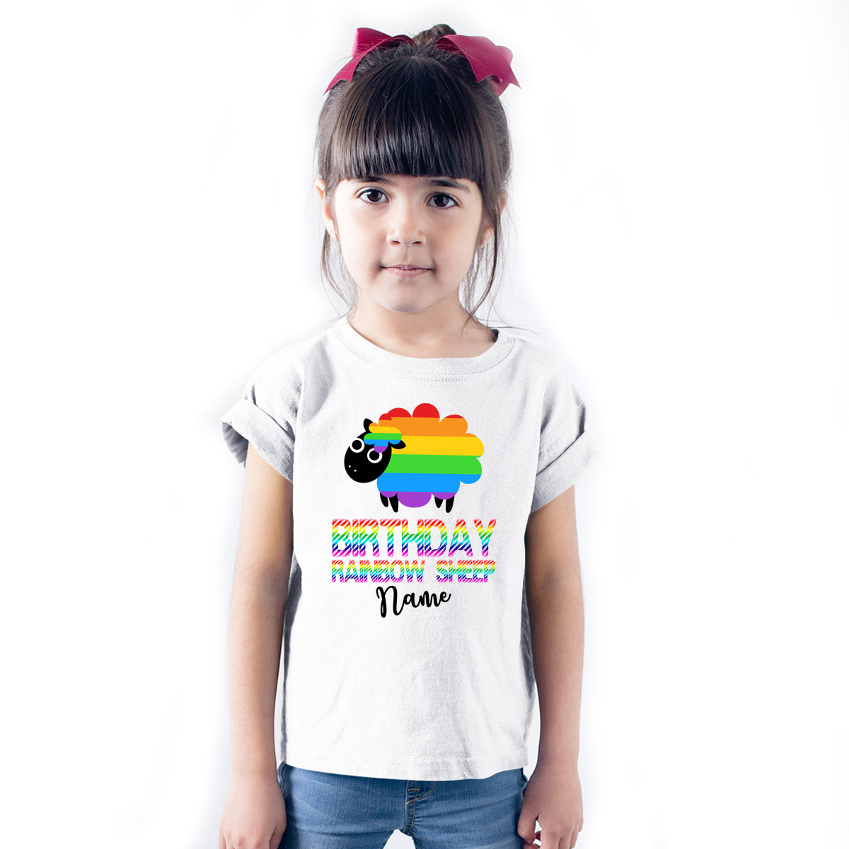 Sprinklecart Birthday Rainbow Sheep Personalized Name Printed Poly-Cotton T Shirt (White)