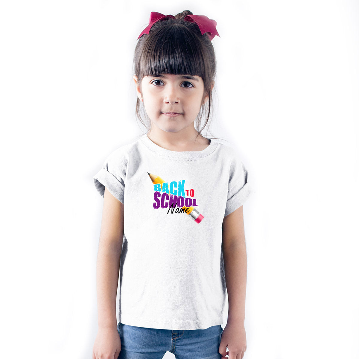Sprinklecart Personalized Back to School Poly-Cotton T Shirt for Kids (White)
