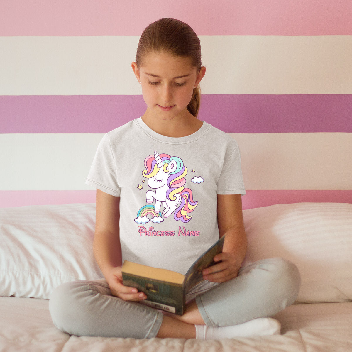 Sprinklecart Cute Dreaming Unicorn Personalized Name Printed Kids Poly-Cotton T Shirt (White)