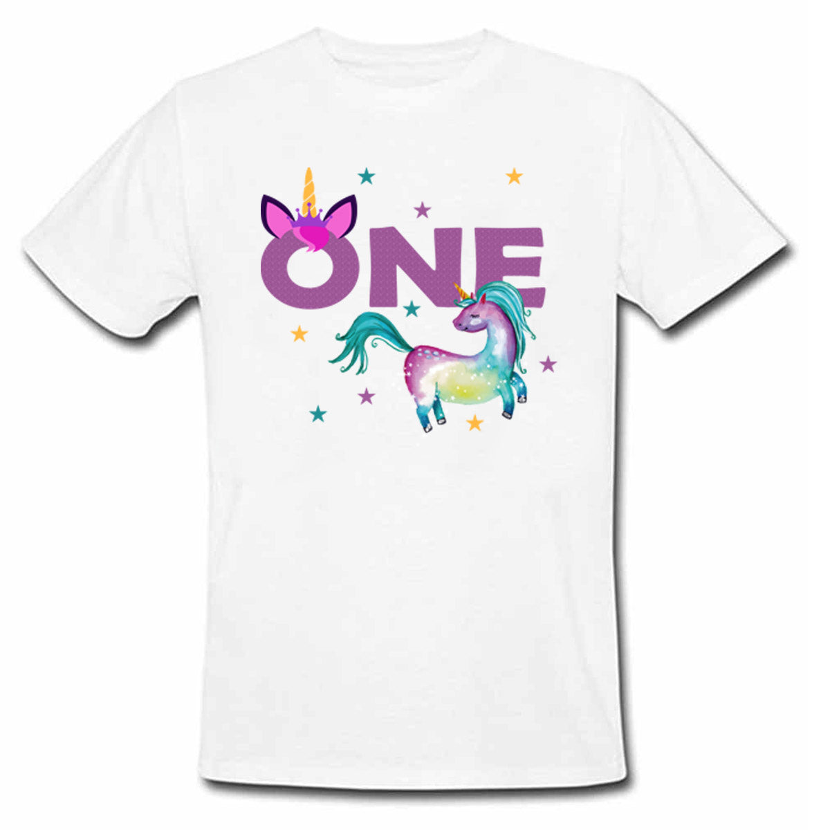 Sprinklecart Customized Name and Age Printed 1st Birthday Unicorn Poly-Cotton T Shirt for Kids (White)