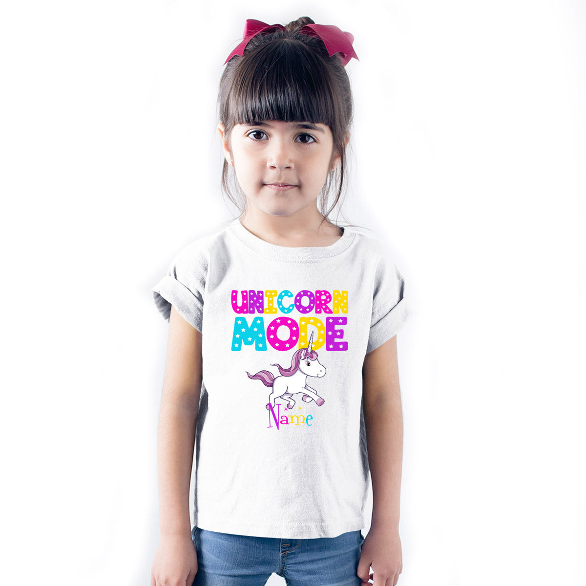 Sprinklecart Unicorn Mode Printed Customized Colourful Poly-Cotton Kids Wear (White)