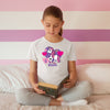 Sprinklecart Cute and Lovely Unicorn Customized Name and Age Printed Poly-Cotton Kids T Shirt (White)