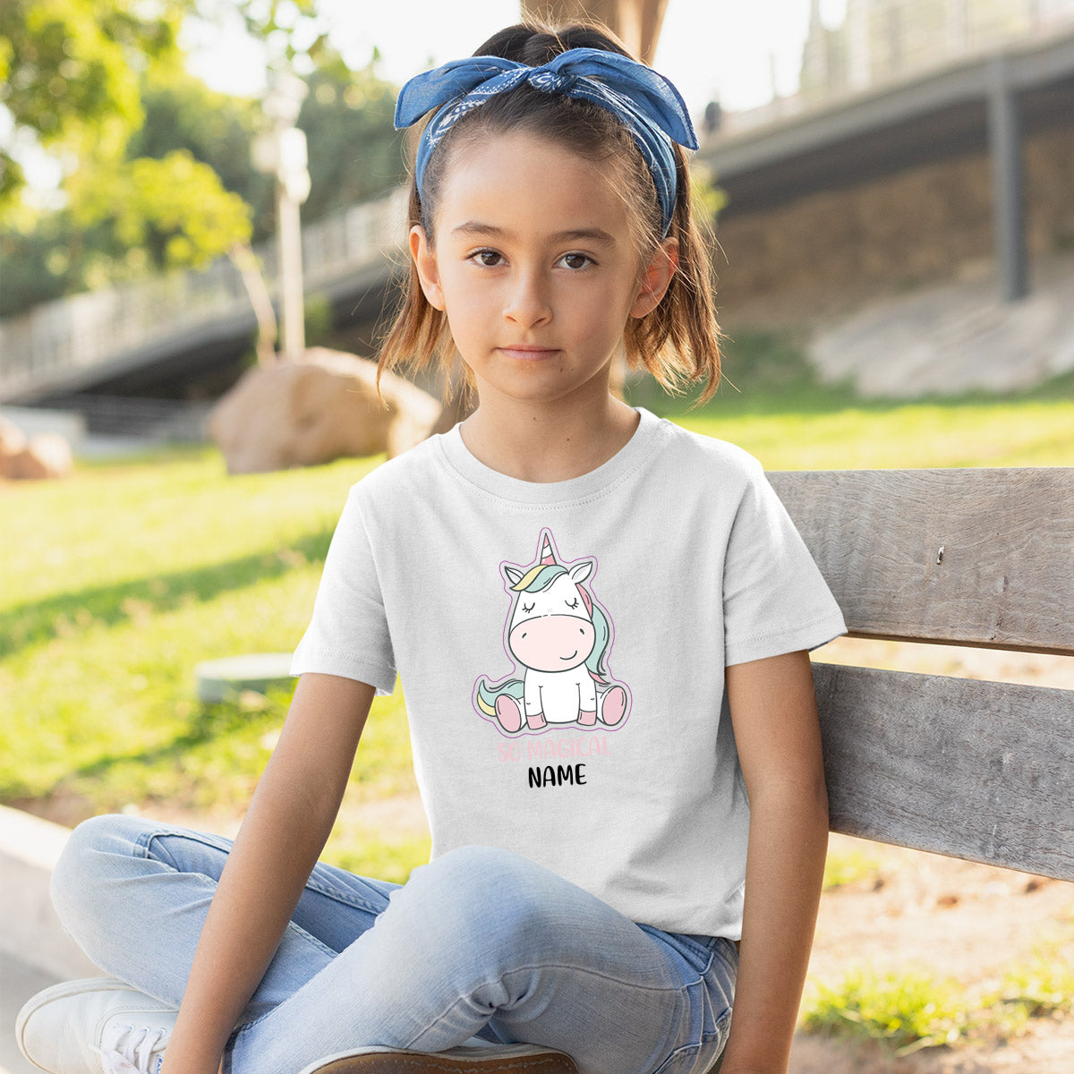 Sprinklecart Customized Name Printed So Magical Unicorn Poly-Cotton T Shirt for Kids (White)