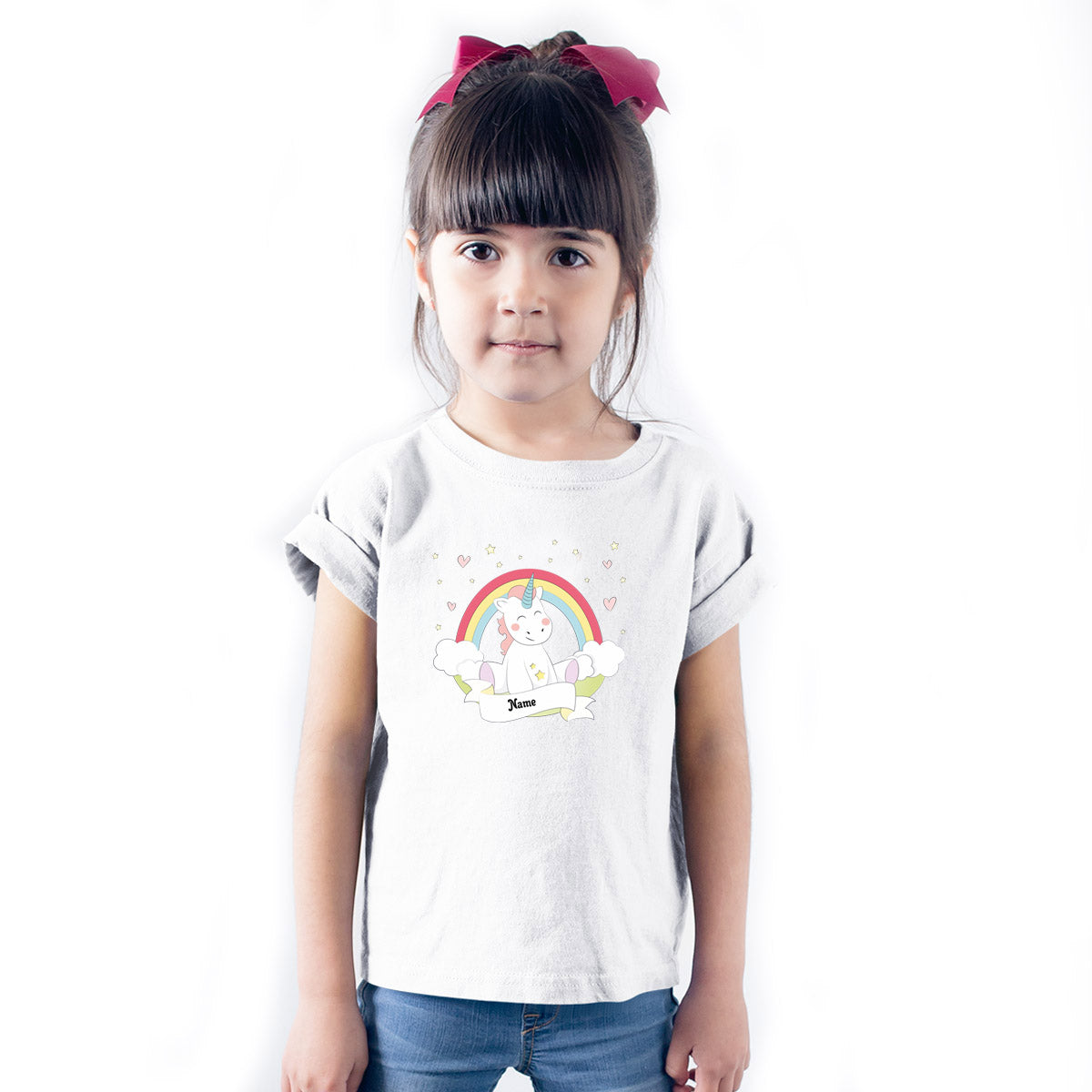 Sprinklecart Personalized Name Printed Dreaming Unicorn Kids Poly-Cotton T Shirt (White)