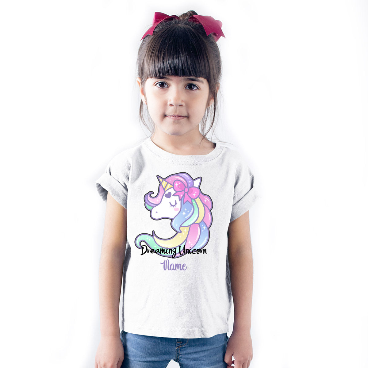 Sprinklecart Customized Name Printed Dreaming Unicorn Kids Poly-Cotton T Shirt (White)
