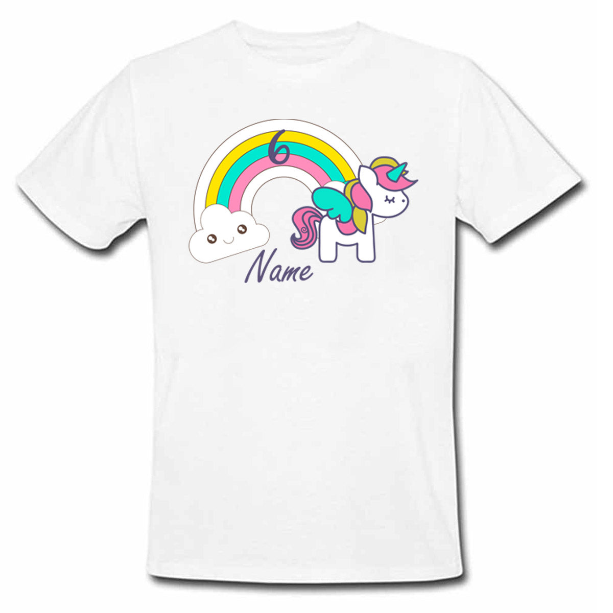 Sprinklecart Custom Name and Age Printed Unicorn Poly-Cotton Kids T Shirt (White)