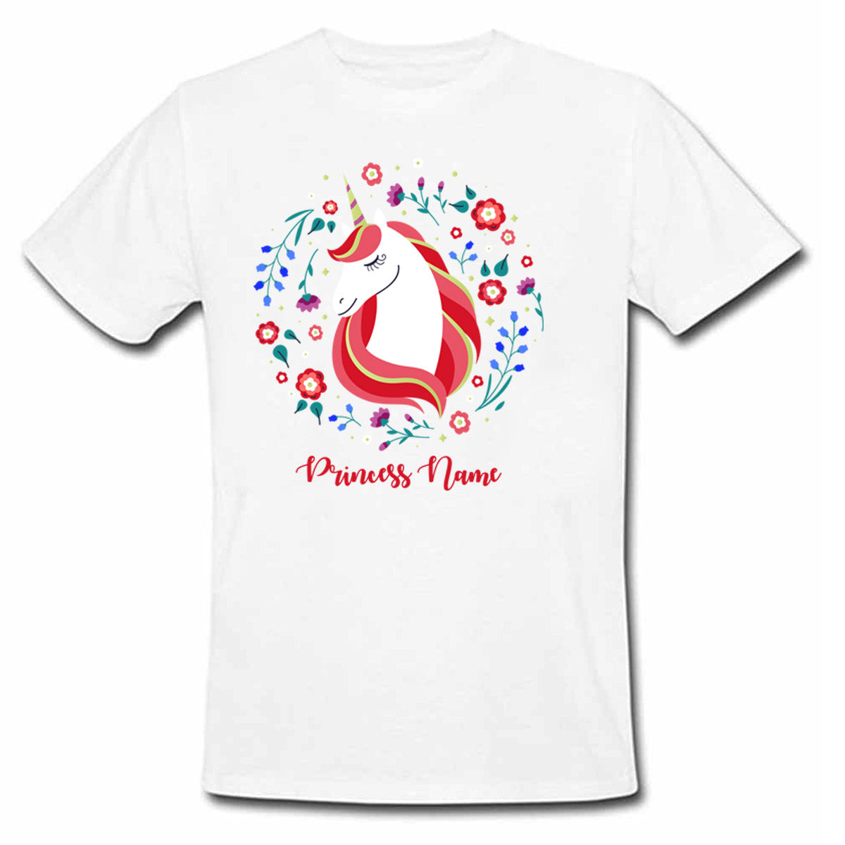Sprinklecart Unicorn Princess Personalized Poly-Cotton Kids Tee Wear (White)