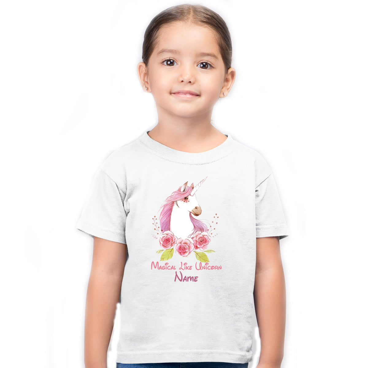 Sprinklecart Magical Like Unicorn Printed Custom Name Printed Kids Poly-Cotton Tshirt (White)
