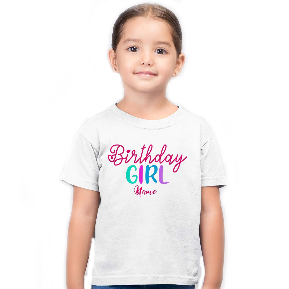 Sprinklecart Custom Name and Age Printed Birthday Girl Printed Poly-Cotton Kids T Shirt Wear (White)