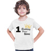 Sprinklecart Birthday Prince Printed 1st Birthday Kids Personalized Poly-Cotton T Shirt (White)