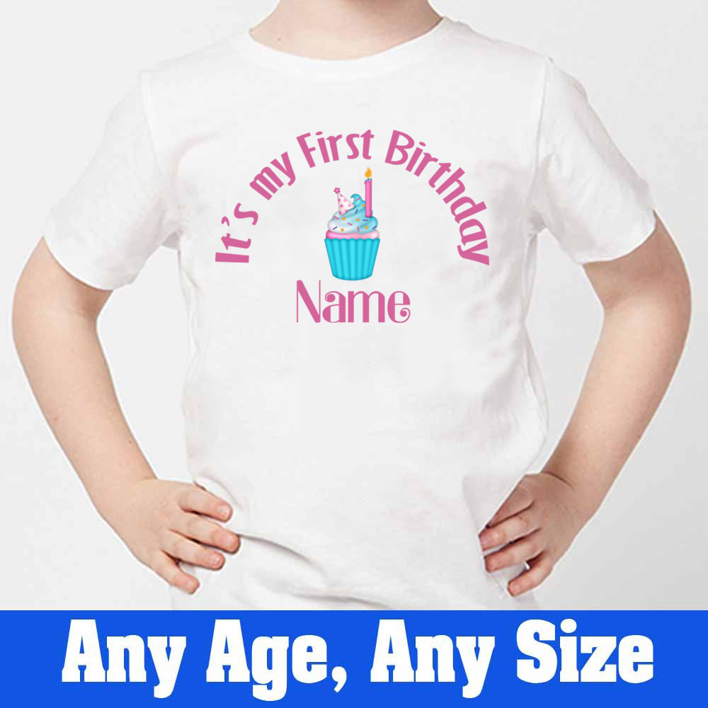 Sprinklecart My First Birthday Printed Cup Cake Kid's Customized Poly-Cotton T Shirt (White)