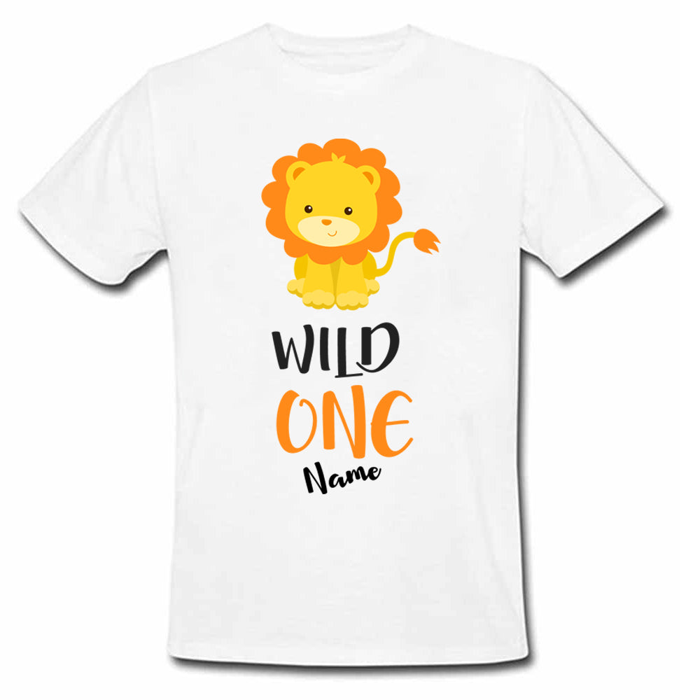 Sprinklecart Wild One Poly-Cotton 1st Birthday T Shirt Wear for Kids (White)