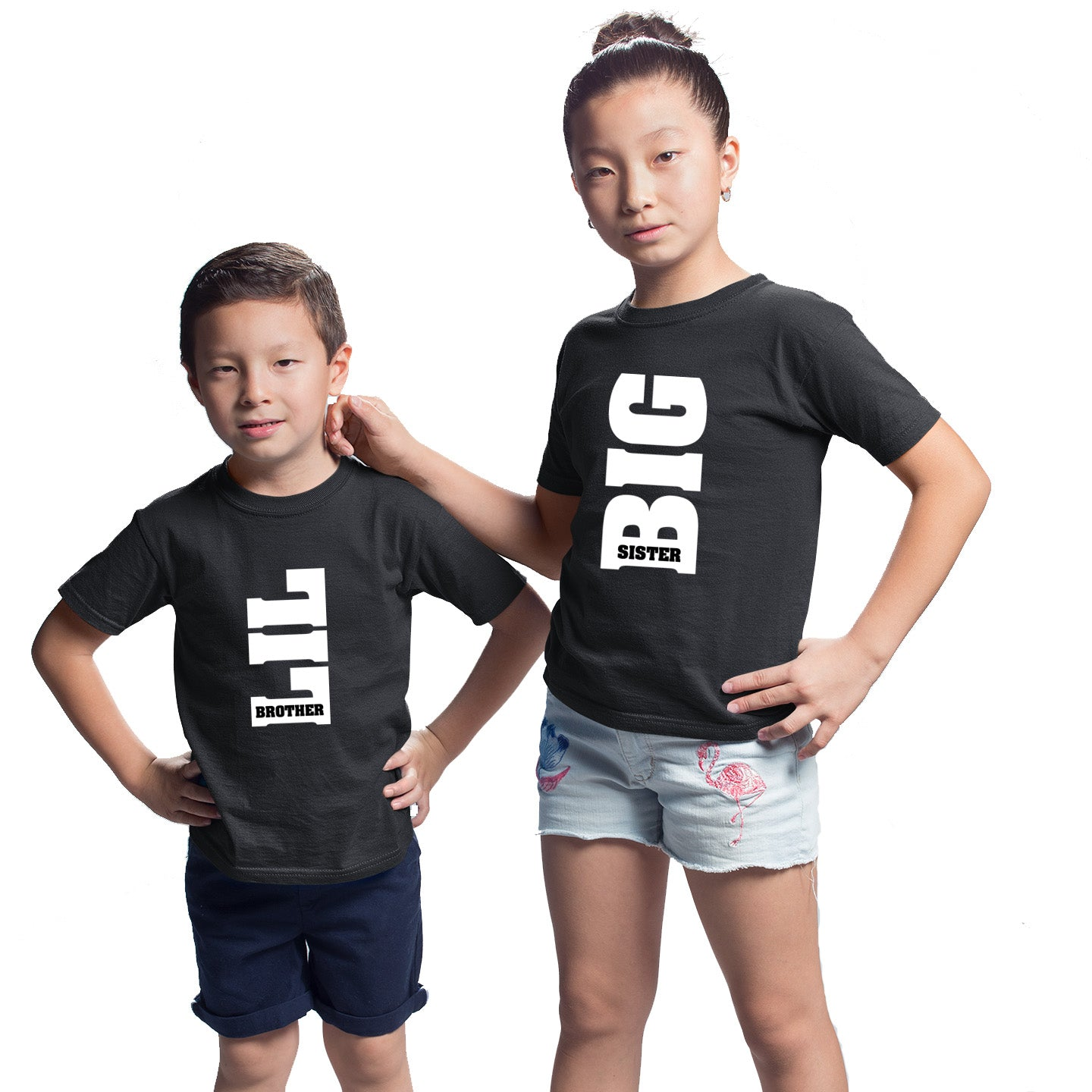 Sprinklecart Matching Big Sis Lil Bro Printed Sibling T Shirts | Cotton Black T Shirts