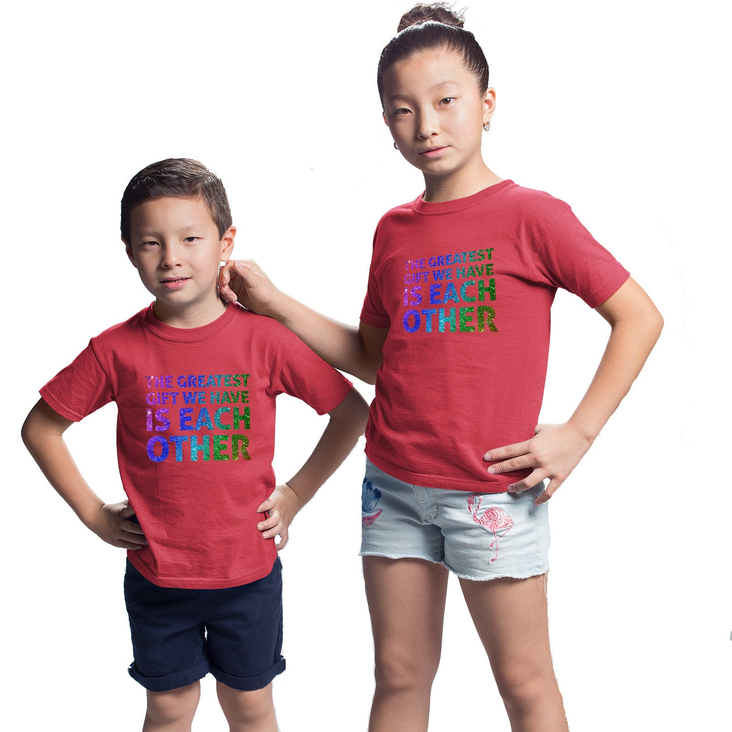 Sprinklecart Matching The Greatest Gift We Have is Each Other Printed Sibling T Shirts(Red)