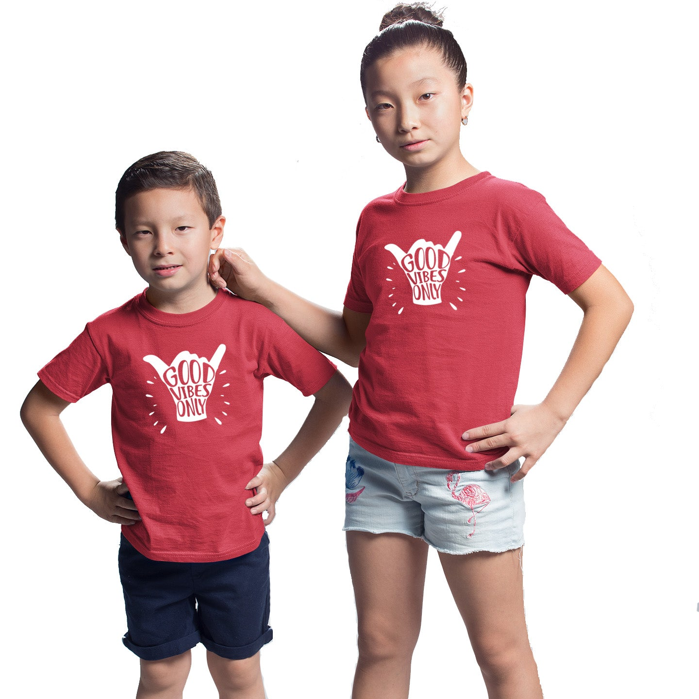 Sprinklecart Set of Good Vibes Only Printed T Shirt | Combo of 2 Red Cotton T Shirts for Siblings