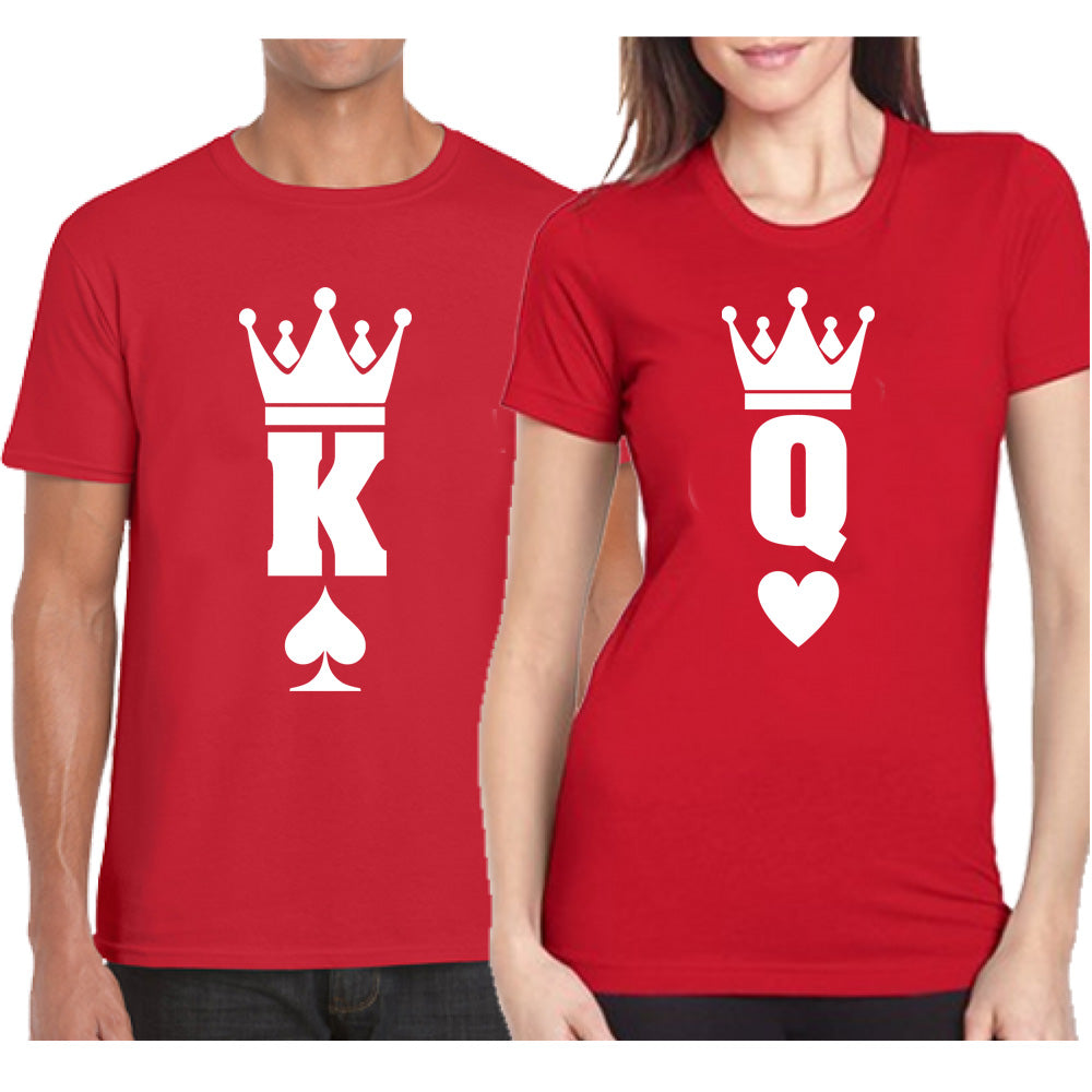 Sprinklecart Cards Themed King Queen Matching Couple T Shirt | Cotton T Shirts