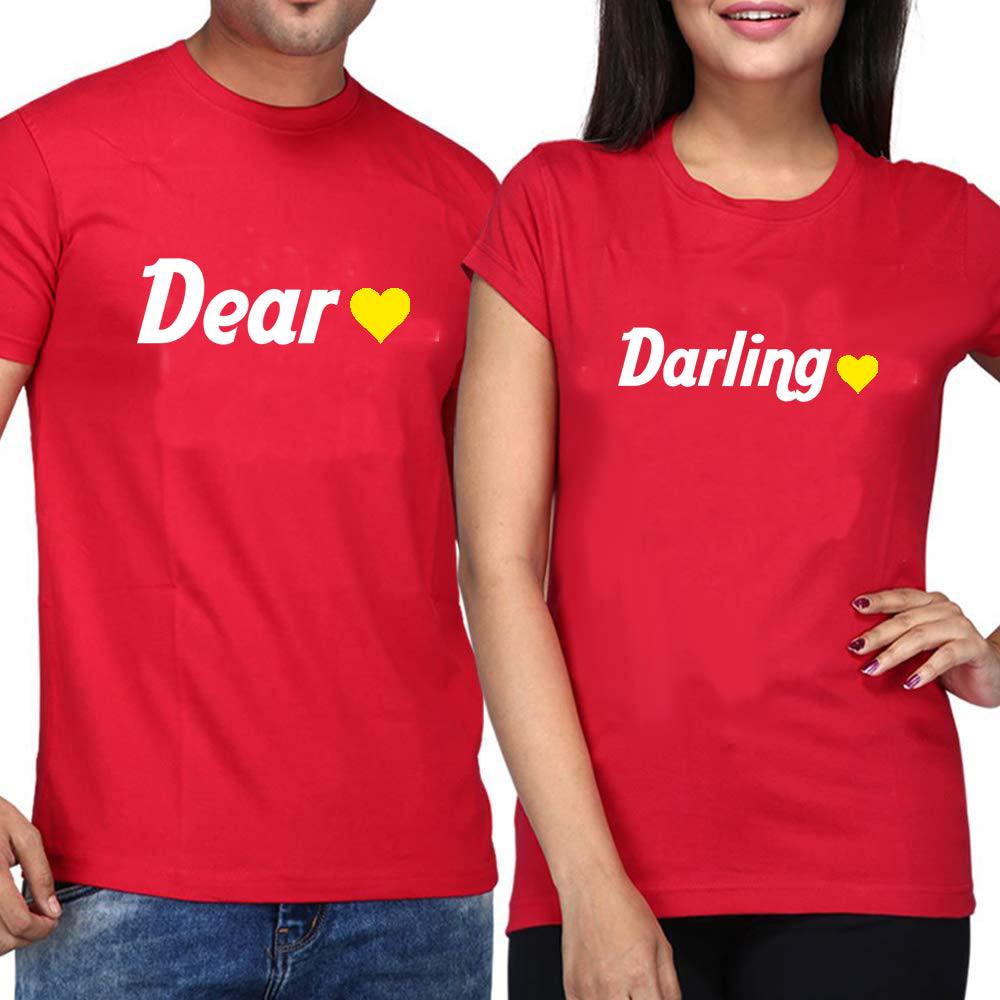 Sprinklecart Dear Darling Matching Women Men Couple Cotton T Shirt Combo