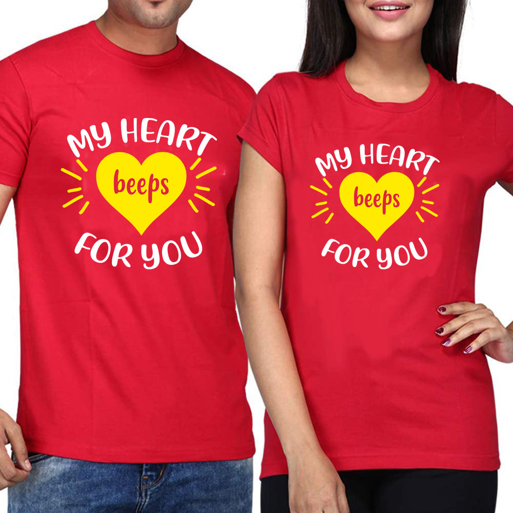 Sprinklecart Combo of My Heart Beeps for You Men Women Cotton Couple T Shirt (Black)