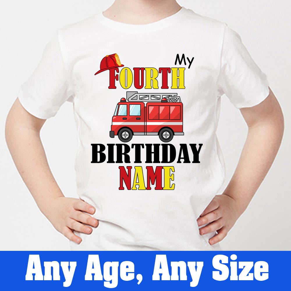 Sprinklecart Unique Personalized Name Printed Fire Vehicle Birthday T Shirt