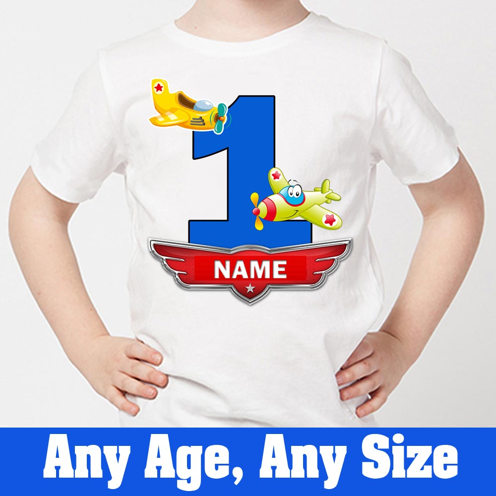 Sprinklecart Unique Birthday Gift Choice for Your Little Hero | Personalized Name Printed Little Airplane Kids 1st Birthday T-Shirt