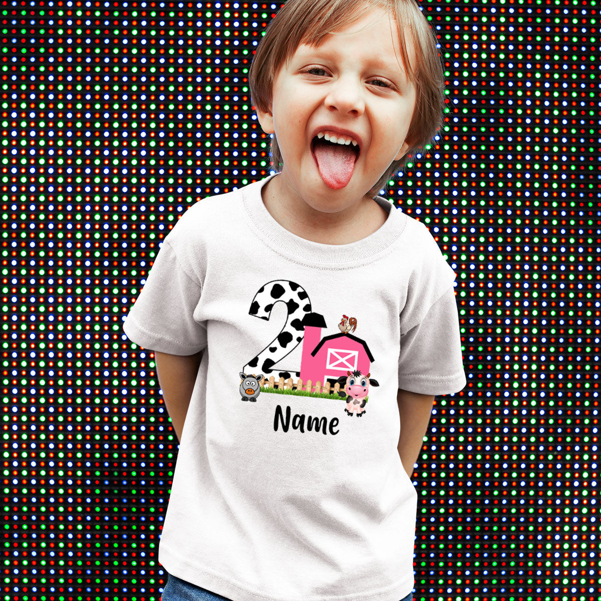 Sprinklecart Special 2nd Birthday Dress for Your Little One | Personalized Name Printed Little Farm House Kids Birthday T Shirt