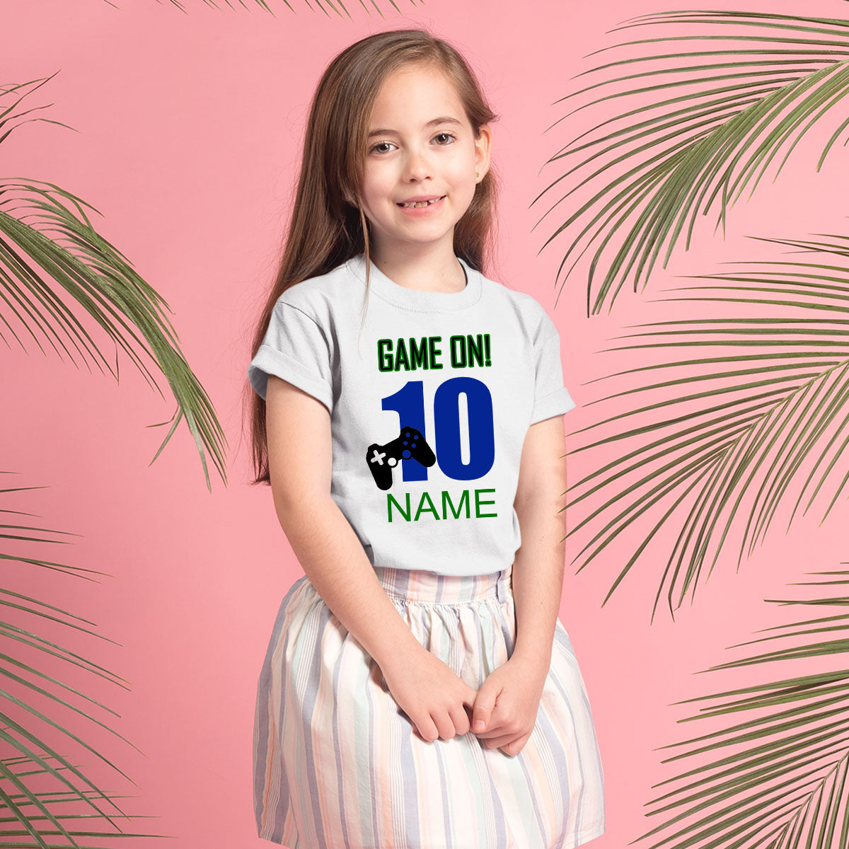 Sprinklecart Customized Name Printed Game On Kids 10th Birthday Wear for Your Little Star