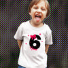Sprinklecart Customized Name Printed Lovely Pink Bow 6th Birthday Special Tee Wear | Unique Gift Choice for Your Birthday Star