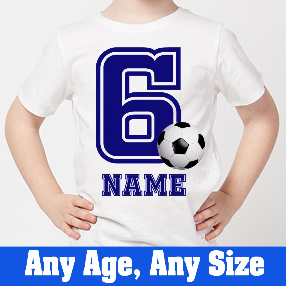 Sprinklecart for Your Little One | Customized Name Printed Little Foot ball Kids 6th Birthday T-Shirt