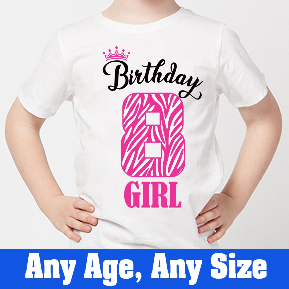 Sprinklecart Lovely Kids 8th Birthday T-Shirt | Personalized Name Printed Wear for Your Birthday Star