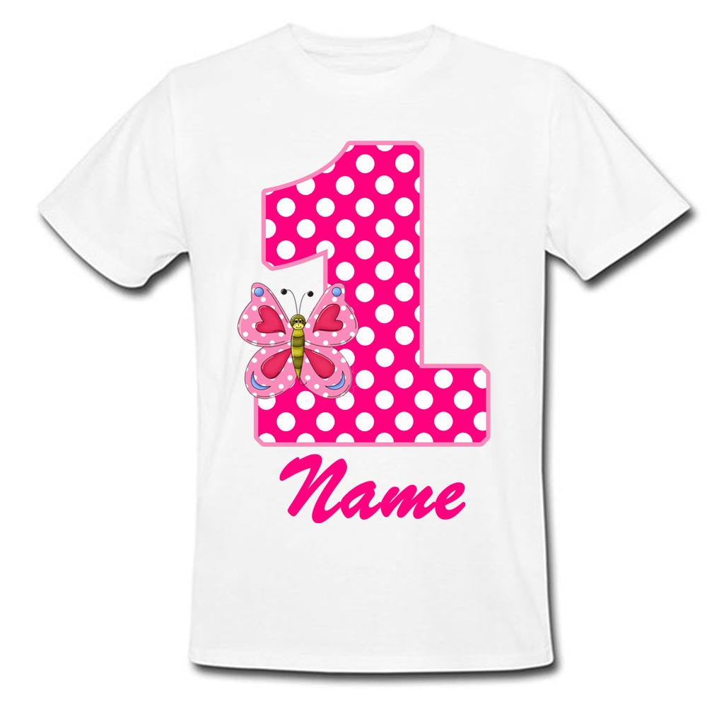 Sprinklecart Special Kids Lovely Birthday Dress | Customized Name Printed Little Butterfly Tee Gift for Your Kid