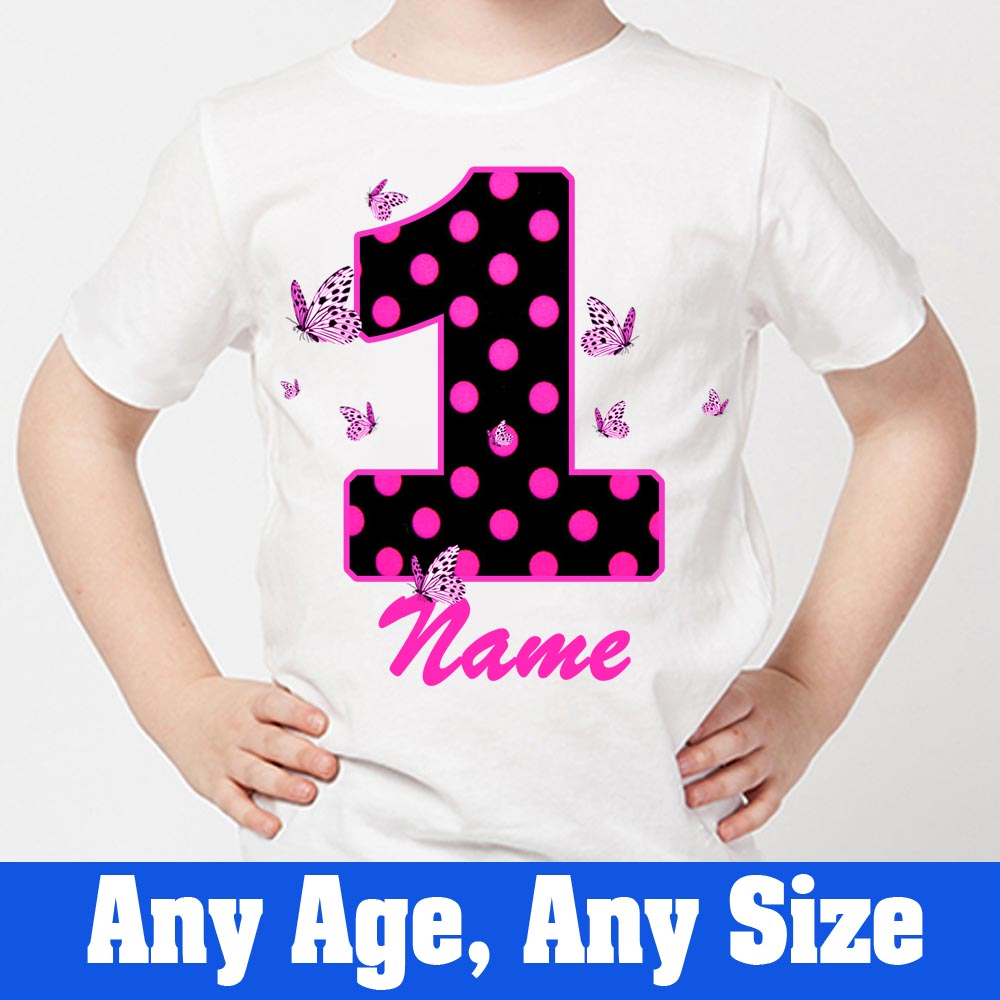Sprinklecart Special Kids 1st Birthday Tee Gift | Customized Name Printed Little Butterfly's Tee Gift for Your Little One