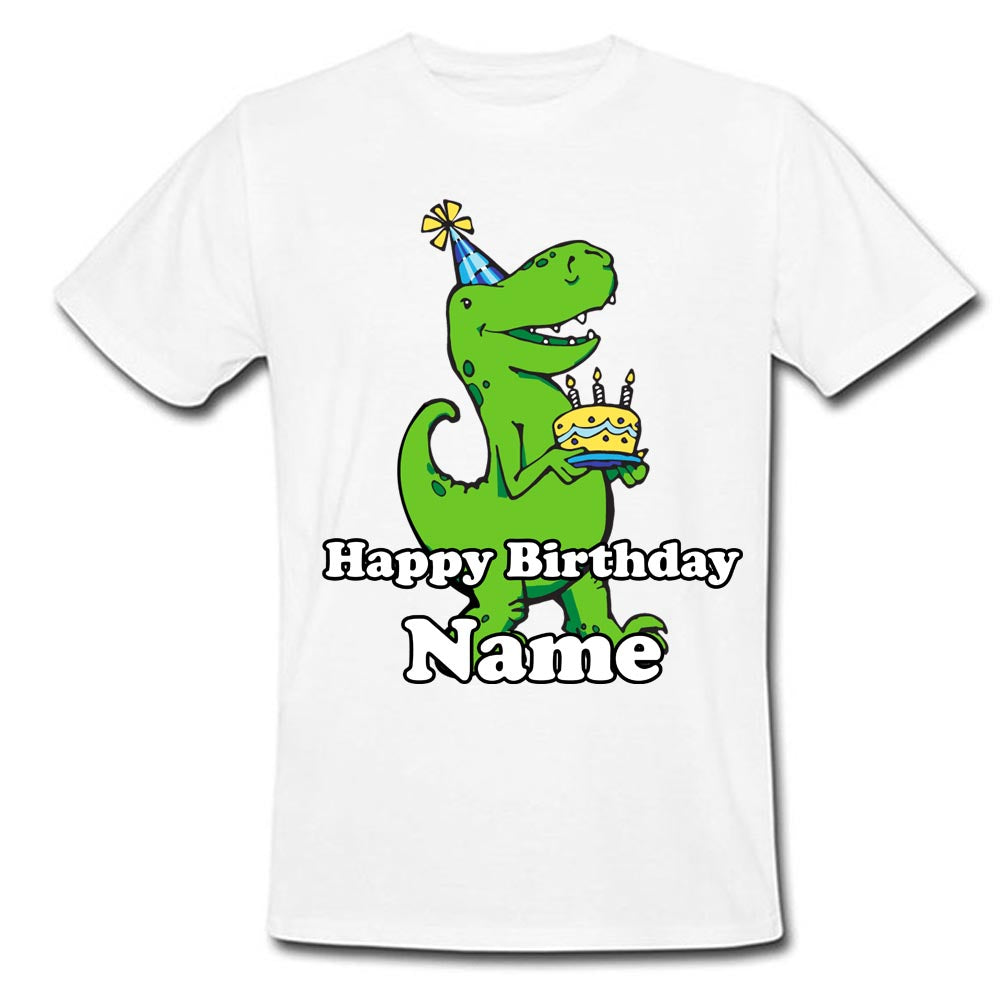 Sprinklecart Kids Special Birthday Dress | Personalized Name Printed | Little Dinosaur and Cake | Birthday T Shirt for Your Little One