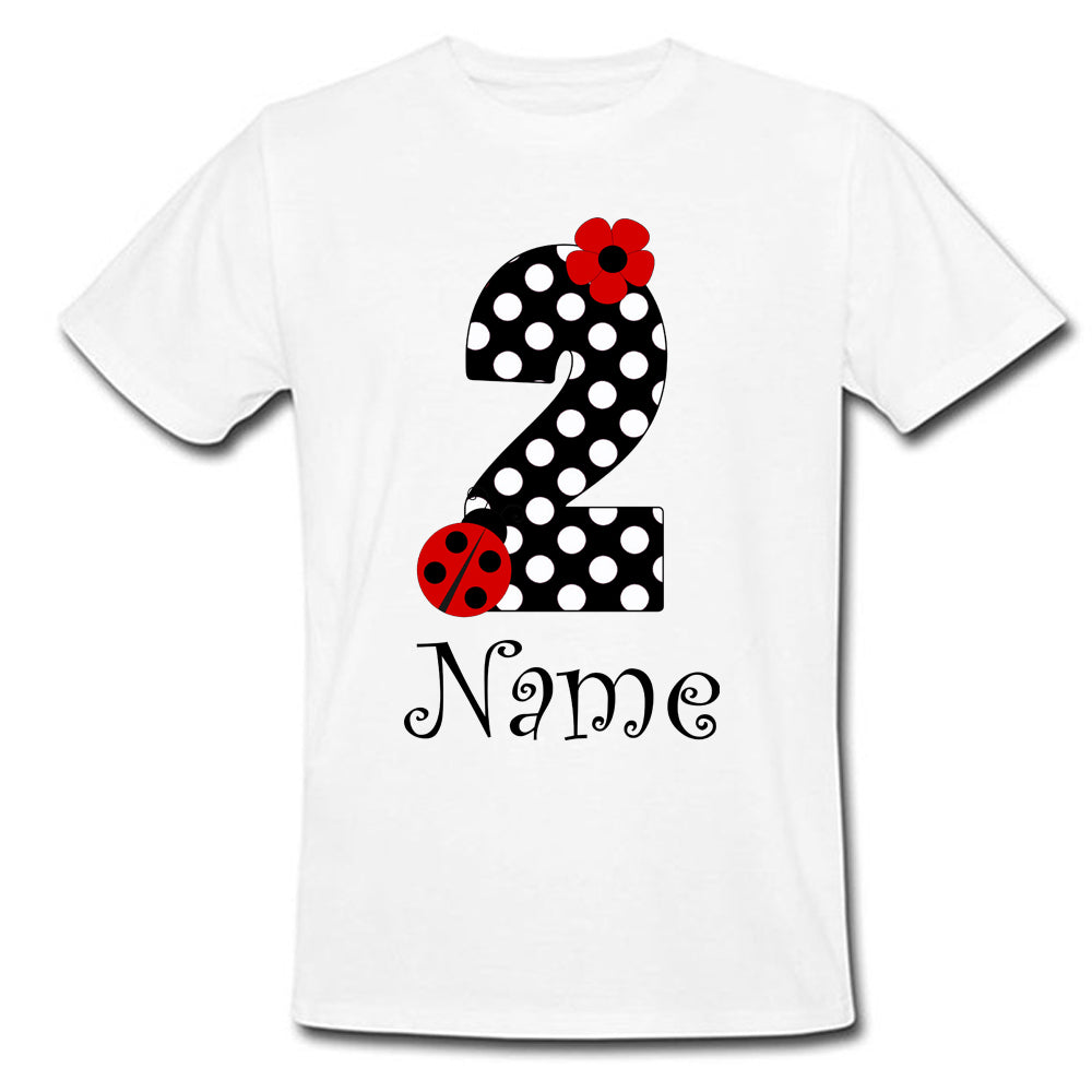 Sprinklecart 2nd Birthday Gift for Your Cute Little One | Customized Name Printed Kids Little Bug | Flower | Birthday T-Shirt