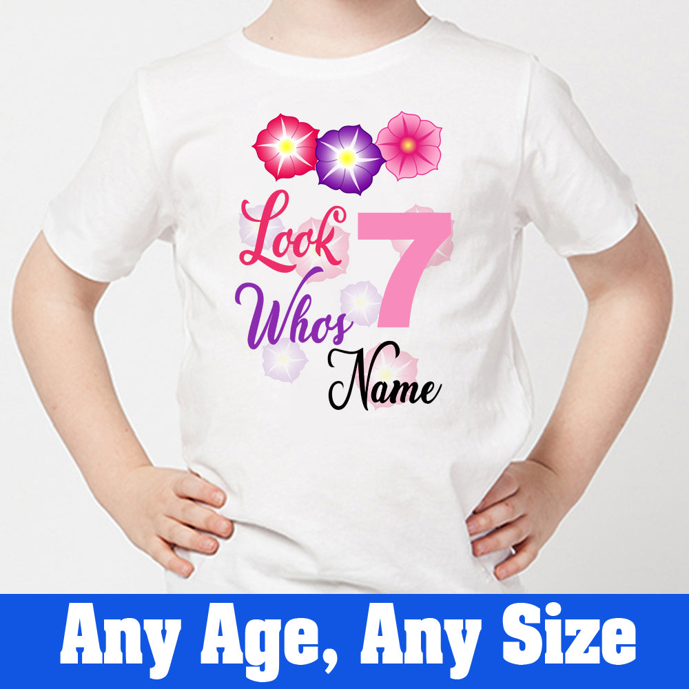 Sprinklecart Flower Themed Look Who's 7 Ideal Birthday T Shirt Gift | Customized Birthday Wear