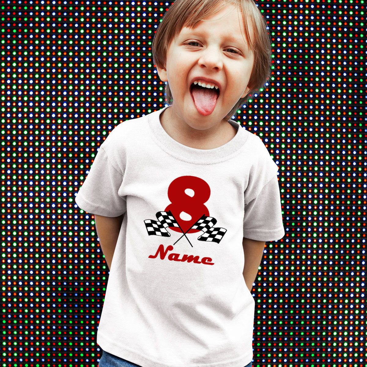 Sprinklecart Race Flag Birthday T Shirt | Perfect 8th Birthday Gift