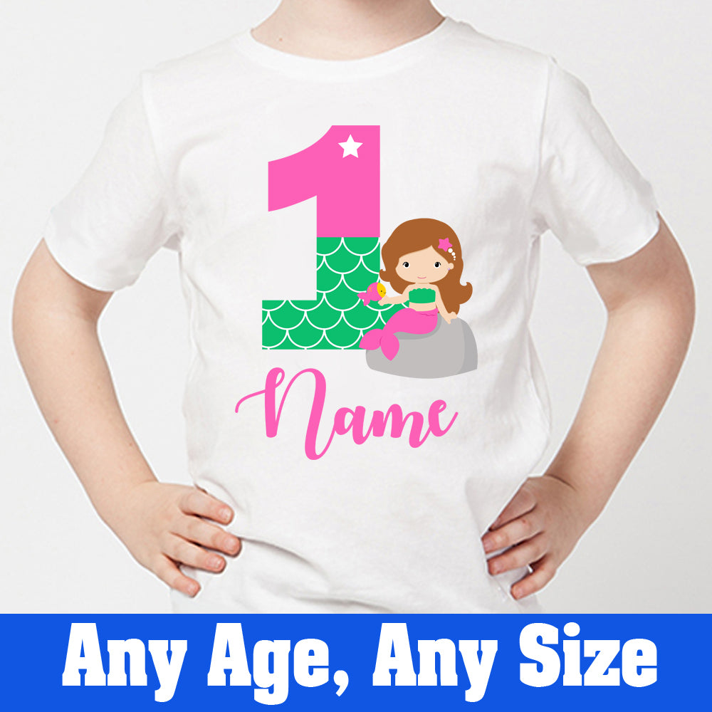 Sprinklecart Cute Mermaid T Shirt | Personalized Name and Age Printed 1st Birthday Wear