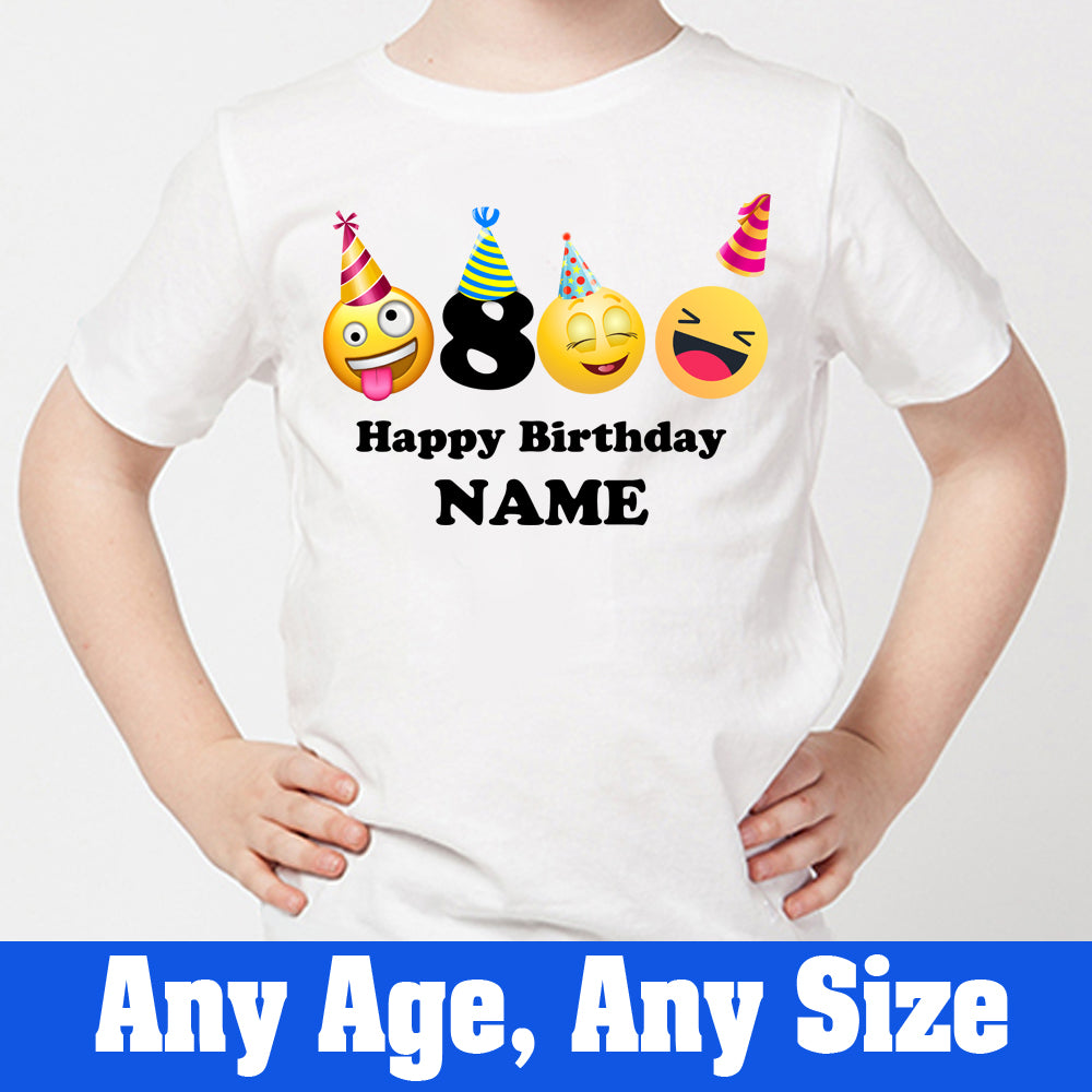 Sprinklecart Cool Emoji Smiley 8th Birthday Tee Gift | Personalized Name and Age Printed Birthday T Shirt for Boys