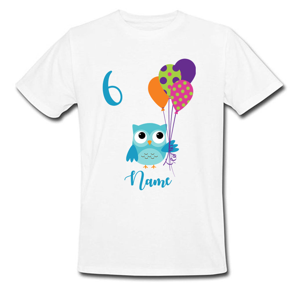 Sprinklecart Personalized 6th Birthday T Shirt Gift Owl Birthday Dress for Your Kid